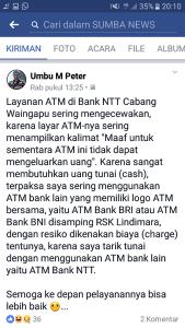 keluhan warga masalah mesin atm bank ntt