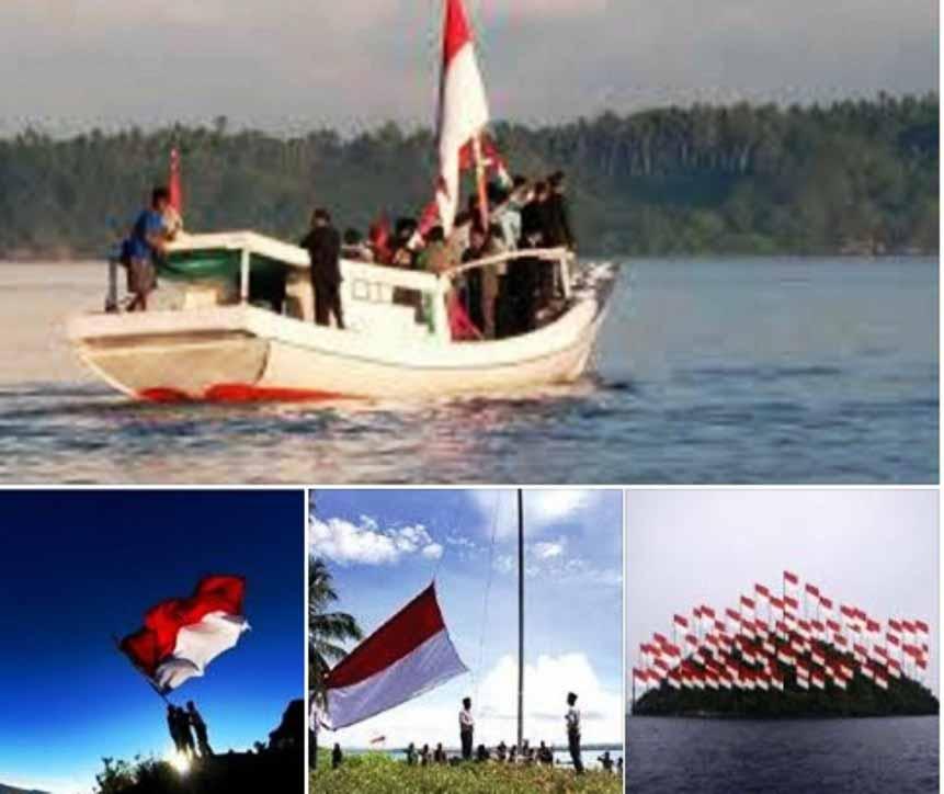 Ilustrasi Pengibaran Bendara di Pulau Salura