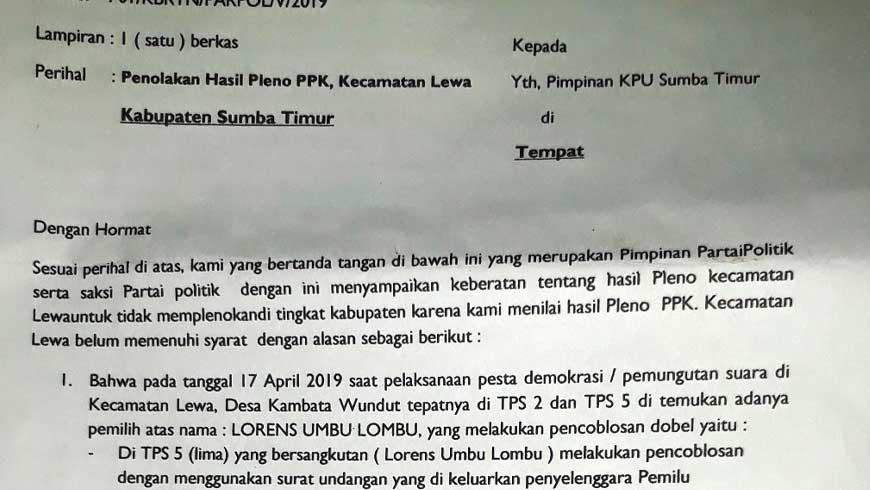 Surat Pleno PKK Lewa Ditolak